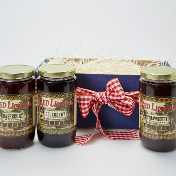 Red Lion Inn Jam Gift Box, Raspberry, Blueberry, Strawberry